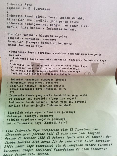 Indonesia Raya versi 3 Stanza